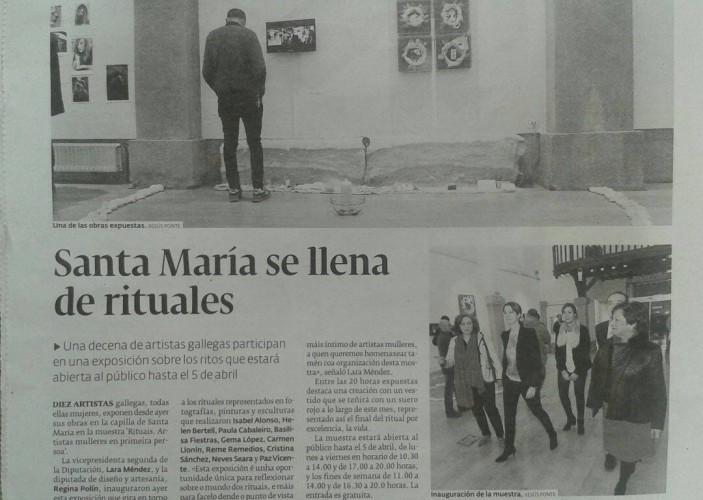 Exposición Rituales. Noticia de prensa de Lugo.